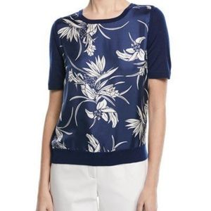 Escada Short-Sleeve Floral-Print Silk Front & Knit